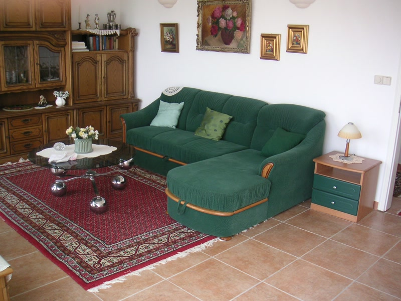 Wohnzimmer mit Schlafcouch <> Living room with sofabed